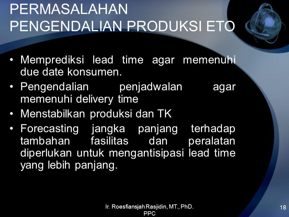PERMASALAHAN PENGENDALIAN PRODUKSI ETO Memprediksi lead time agar memenuhi due date konsumen. Pengendalian penjadwalan agar memenuhi delivery time Men
