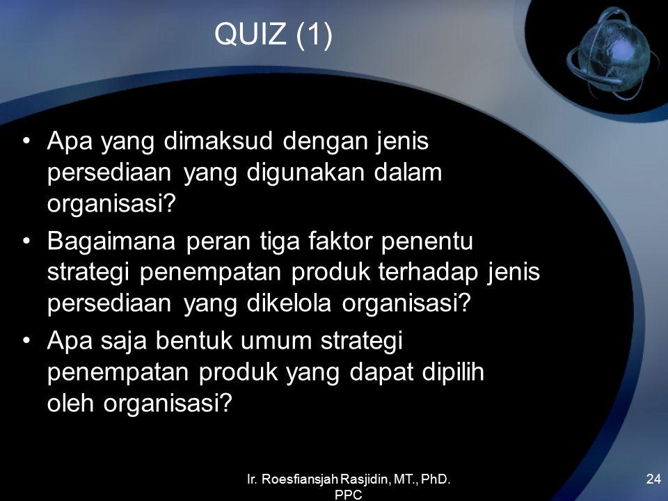 Ir. Roesfiansjah Rasjidin, MT., PhD. PPC 24 QUIZ (1) Apa yang dimaksud dengan jenis persediaan yang digunakan dalam organisasi? Bagaimana peran tiga f