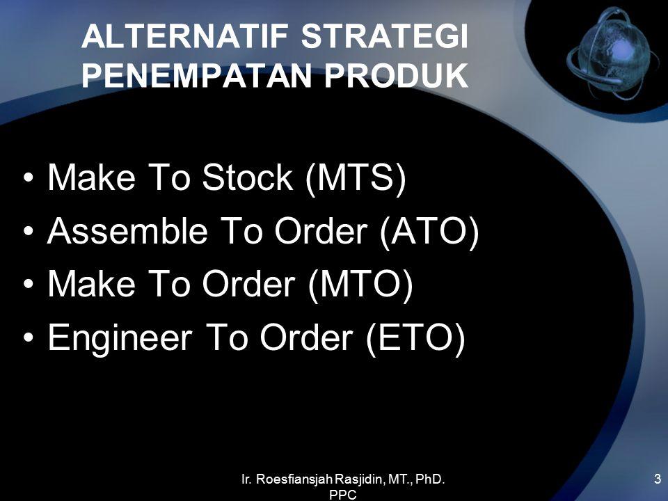 Ir. Roesfiansjah Rasjidin, MT., PhD. PPC 3 ALTERNATIF STRATEGI PENEMPATAN PRODUK Make To Stock (MTS) Assemble To Order (ATO) Make To Order (MTO) Engin