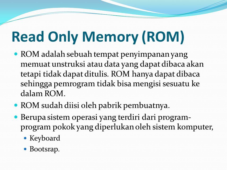 Read Only Memory (ROM) ROM adalah sebuah tempat penyimpanan yang memuat unstruksi atau data yang dapat dibaca akan tetapi tidak dapat ditulis. ROM han