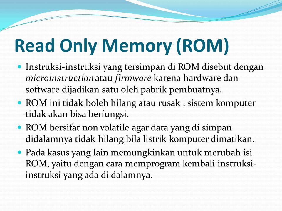 Read Only Memory (ROM) Instruksi-instruksi yang tersimpan di ROM disebut dengan microinstruction atau firmware karena hardware dan software dijadikan