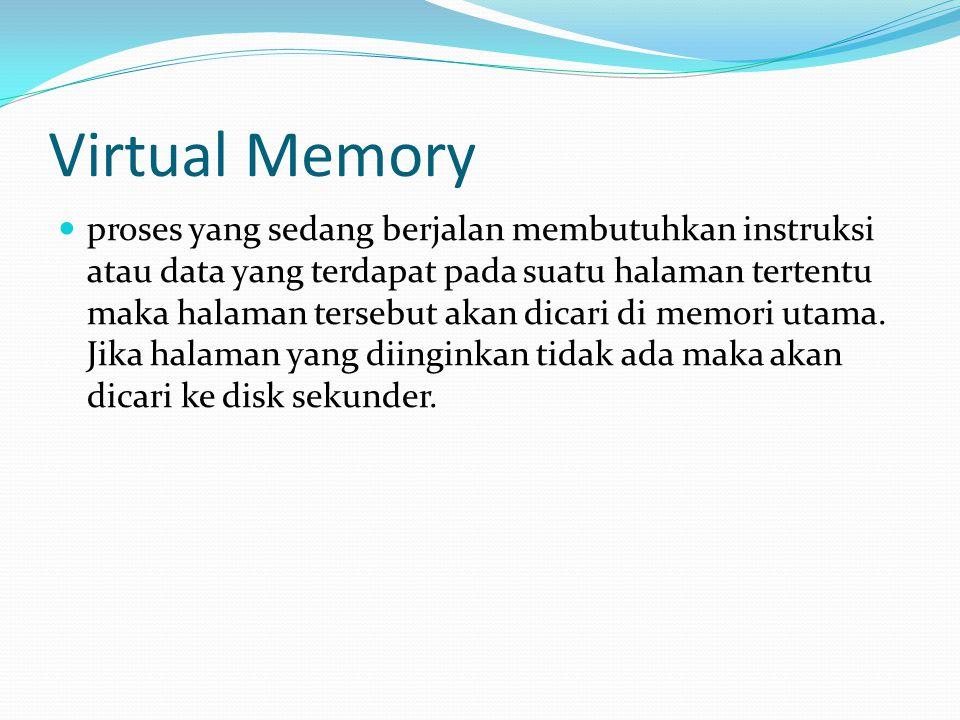 Virtual Memory proses yang sedang berjalan membutuhkan instruksi atau data yang terdapat pada suatu halaman tertentu maka halaman tersebut akan dicari