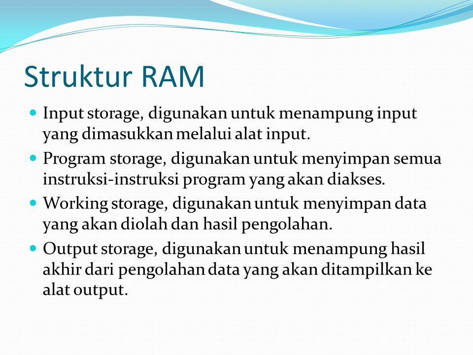 Struktur RAM Input storage, digunakan untuk menampung input yang dimasukkan melalui alat input. Program storage, digunakan untuk menyimpan semua instr