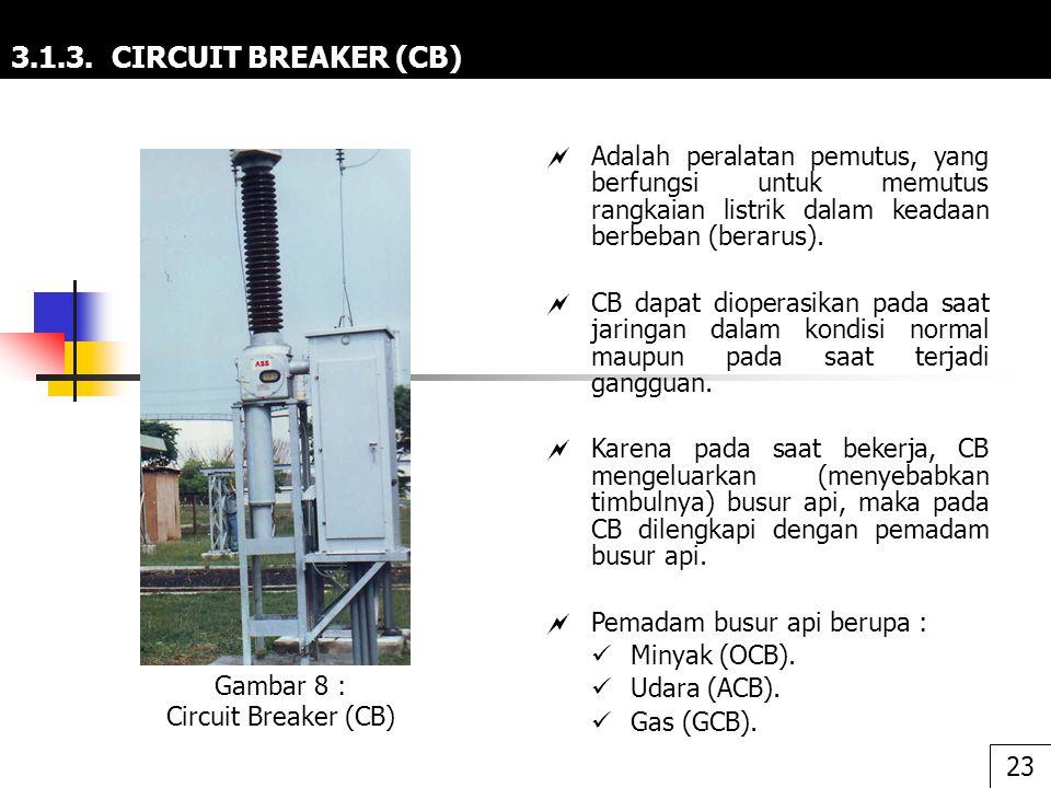 3.1.3. CIRCUIT BREAKER (CB)  Adalah peralatan pemutus, yang berfungsi untuk memutus rangkaian listrik dalam keadaan berbeban (berarus).  CB dapat di