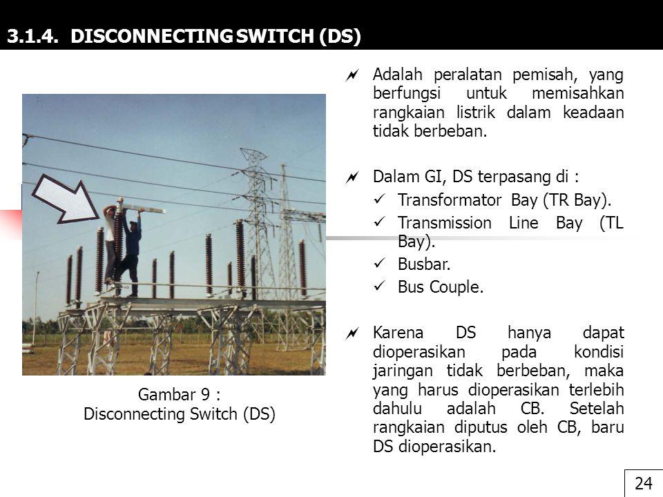 3.1.4. DISCONNECTING SWITCH (DS)  Adalah peralatan pemisah, yang berfungsi untuk memisahkan rangkaian listrik dalam keadaan tidak berbeban.  Dalam G
