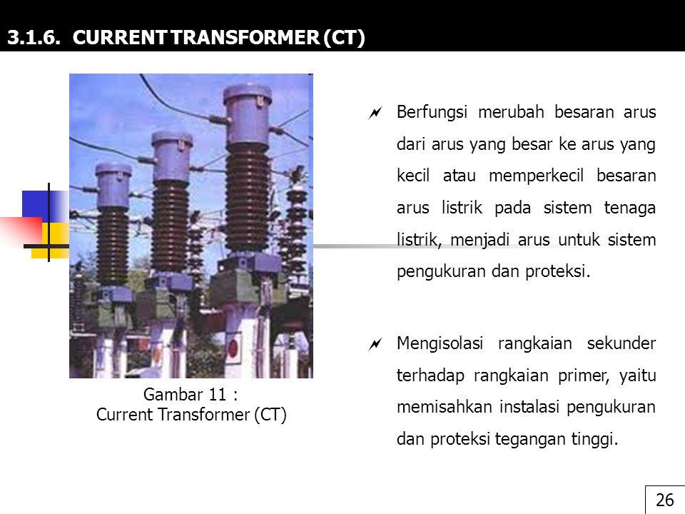 3.1.6. CURRENT TRANSFORMER (CT)  Berfungsi merubah besaran arus dari arus yang besar ke arus yang kecil atau memperkecil besaran arus listrik pada si