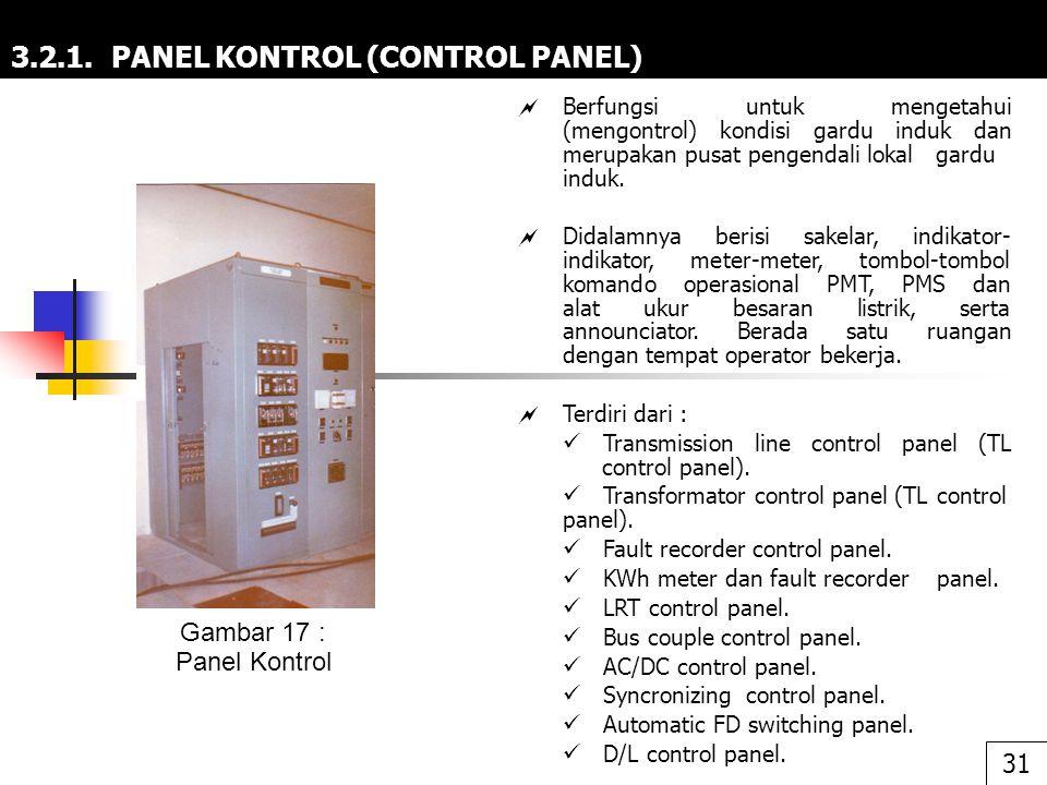 3.2.1. PANEL KONTROL (CONTROL PANEL)  Berfungsi untuk mengetahui (mengontrol) kondisi gardu induk dan merupakan pusat pengendali lokal gardu induk. 