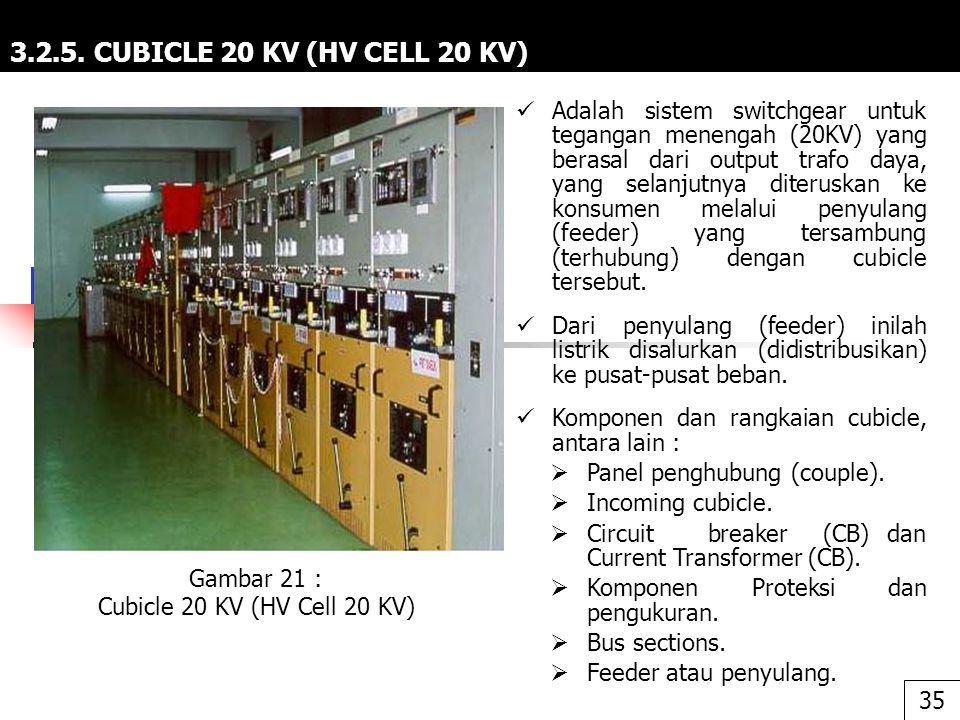 3.2.5. CUBICLE 20 KV (HV CELL 20 KV) Adalah sistem switchgear untuk tegangan menengah (20KV) yang berasal dari output trafo daya, yang selanjutnya dit