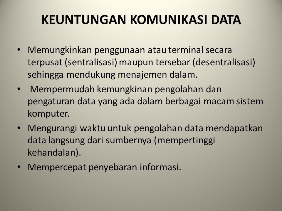 KEUNTUNGAN KOMUNIKASI DATA Memungkinkan penggunaan atau terminal secara terpusat (sentralisasi) maupun tersebar (desentralisasi) sehingga mendukung me