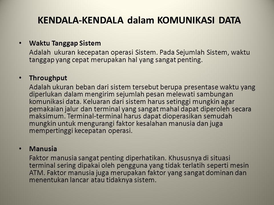 KENDALA-KENDALA dalam KOMUNIKASI DATA Waktu Tanggap Sistem Adalah ukuran kecepatan operasi Sistem. Pada Sejumlah Sistem, waktu tanggap yang cepat meru