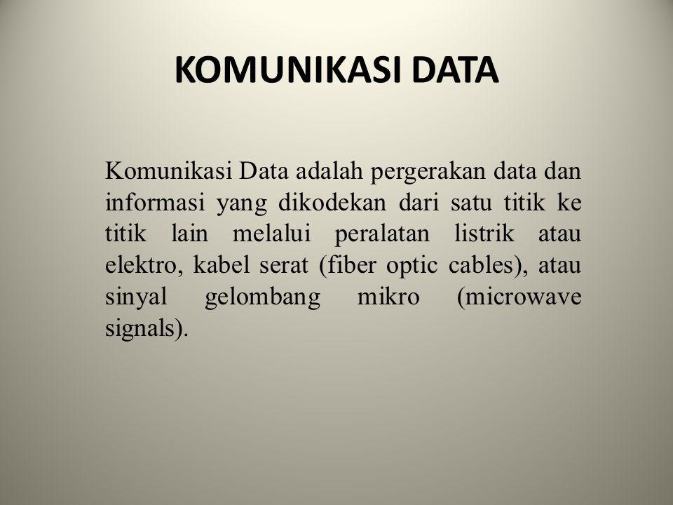 KOMUNIKASI DATA Komunikasi Data adalah pergerakan data dan informasi yang dikodekan dari satu titik ke titik lain melalui peralatan listrik atau elekt