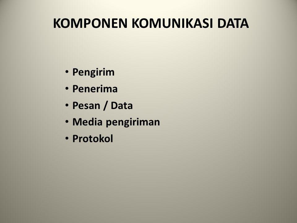 TUJUAN KOMUNIKASI DATA Memungkinkan pengiriman data dalam jumlah besar, efesien, tanpa kesalahan dan ekonomis dari suatu tempat ketempat yang lain; Memungkinkan penggunaan sistem dan peralatan pendukung dari jarak jauh; Memungkinkan penggunaan secara terpusat maupun secara tersebar sehingga mendukung manajemen dalam hal desentralisasi maupun sentralisasi; Mempermudah kemungkinan pengelolaan dan pengaturan data yang ada dalam berbagai macam sistem; Mengurangi waktu untuk pengolahan data; Mendapatkan data langsung dari sumbernya (mempertinggi kehandalan); Mempercepat penyebarluasan informasi.