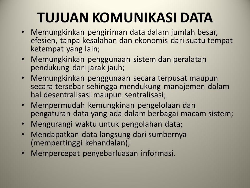 TUJUAN KOMUNIKASI DATA Memungkinkan pengiriman data dalam jumlah besar, efesien, tanpa kesalahan dan ekonomis dari suatu tempat ketempat yang lain; Me