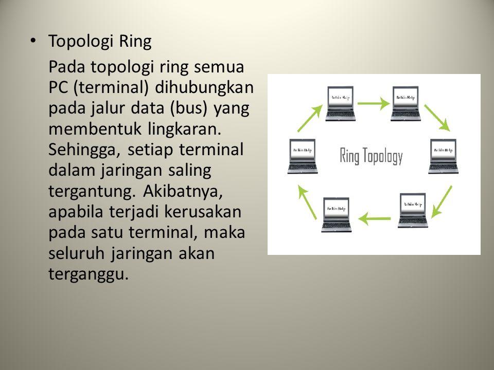 Topologi Ring Pada topologi ring semua PC (terminal) dihubungkan pada jalur data (bus) yang membentuk lingkaran. Sehingga, setiap terminal dalam jarin