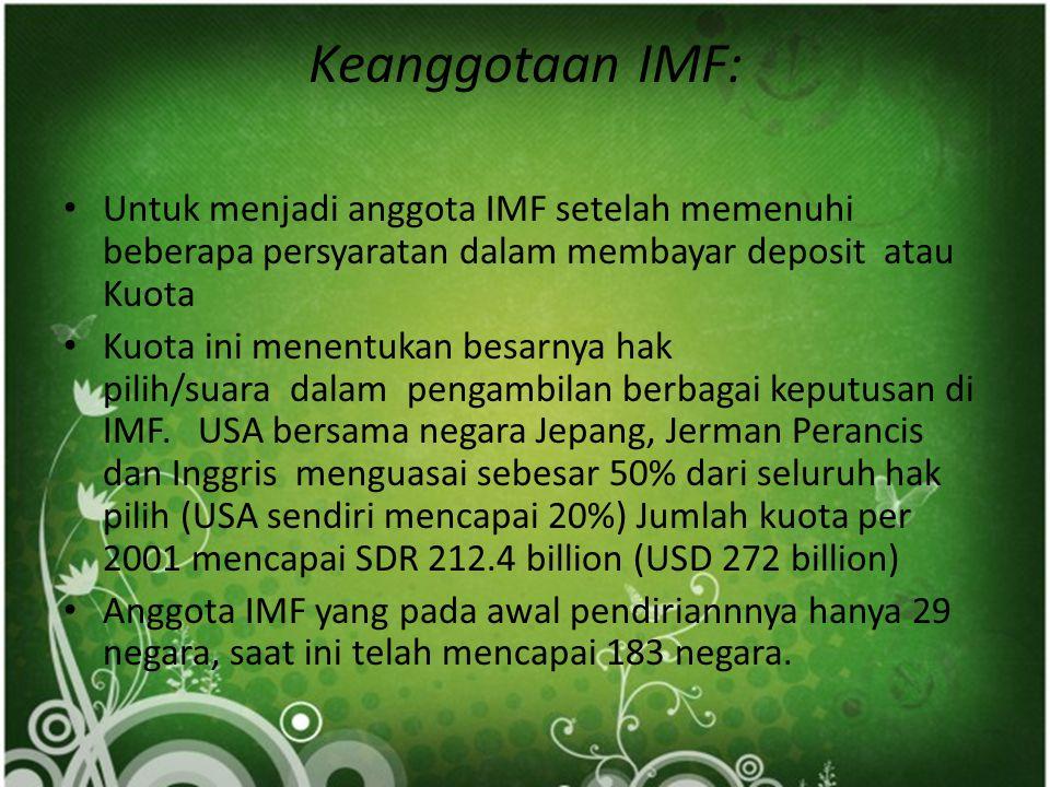  Kriteria Peminjaman IMF Pinjaman dana yang dapat diberikan kepada setiap negara anggota dalam keadaan biasa sampai 125% dari posisi kuota negara yan