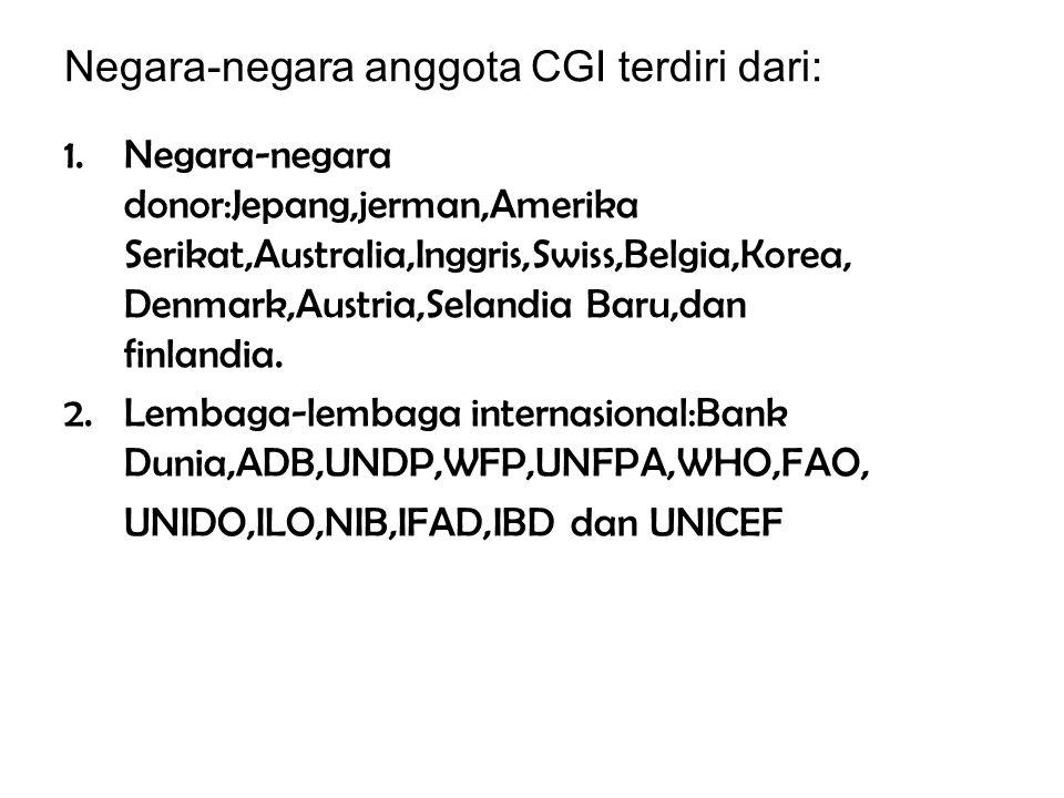 5.Consultative Group on Indonesia(CGI) Merupakan lembaga keuangan yang beroperasi di bulan februari 1967 dan pada tanggal 25 maret 1992 pemerintah Ind