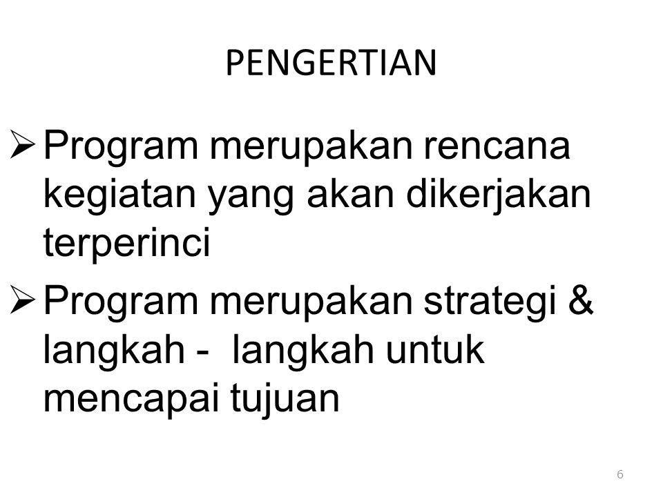 PENGERTIAN  Program merupakan rencana kegiatan yang akan dikerjakan terperinci  Program merupakan strategi & langkah - langkah untuk mencapai tujuan
