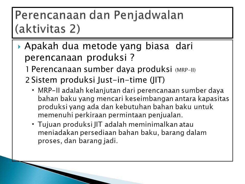  Dokumen, formulir dan prosedur: ◦ Jadwal induk produksi (MPS) menspesifikasikan seberapa banyak produk akan diproduksi selama periode perencanaan dan kapan produksi tersebut harus dilakukan.