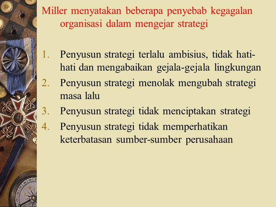 Miller menyatakan beberapa penyebab kegagalan organisasi dalam mengejar strategi 1.Penyusun strategi terlalu ambisius, tidak hati- hati dan mengabaika