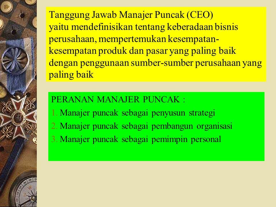 Tanggung Jawab Manajer Puncak (CEO) yaitu mendefinisikan tentang keberadaan bisnis perusahaan, mempertemukan kesempatan- kesempatan produk dan pasar y