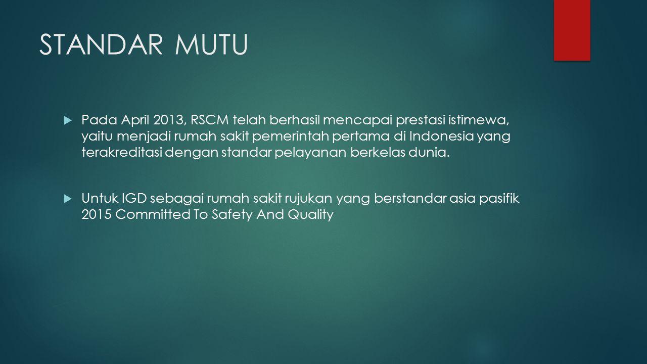 STANDAR MUTU  Pada April 2013, RSCM telah berhasil mencapai prestasi istimewa, yaitu menjadi rumah sakit pemerintah pertama di Indonesia yang terakre