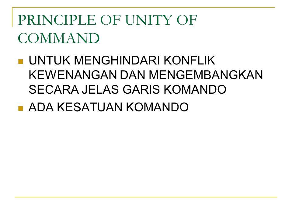 PRINCIPLE OF UNITY OF COMMAND UNTUK MENGHINDARI KONFLIK KEWENANGAN DAN MENGEMBANGKAN SECARA JELAS GARIS KOMANDO ADA KESATUAN KOMANDO