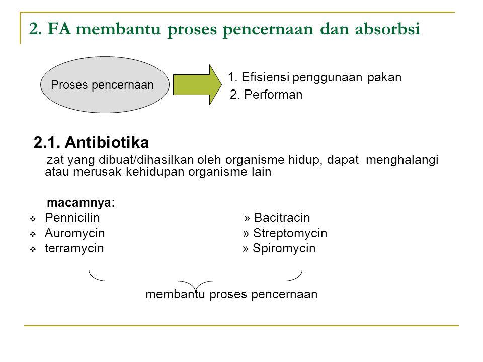 2. FA membantu proses pencernaan dan absorbsi 1. Efisiensi penggunaan pakan 2. Performan 2.1. Antibiotika zat yang dibuat/dihasilkan oleh organisme hi