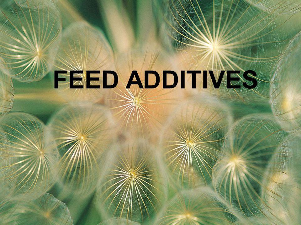Feed additives (FA) Suatu bahan/senyawa non nutritive, ditambahkan dalam ransum atau diberikan langsung ke ternak untuk meningkatkan kualitas pakan dan kualitas produk hewani serta untuk meningkatkan performan & kesehatan ternak PENGERTIAN
