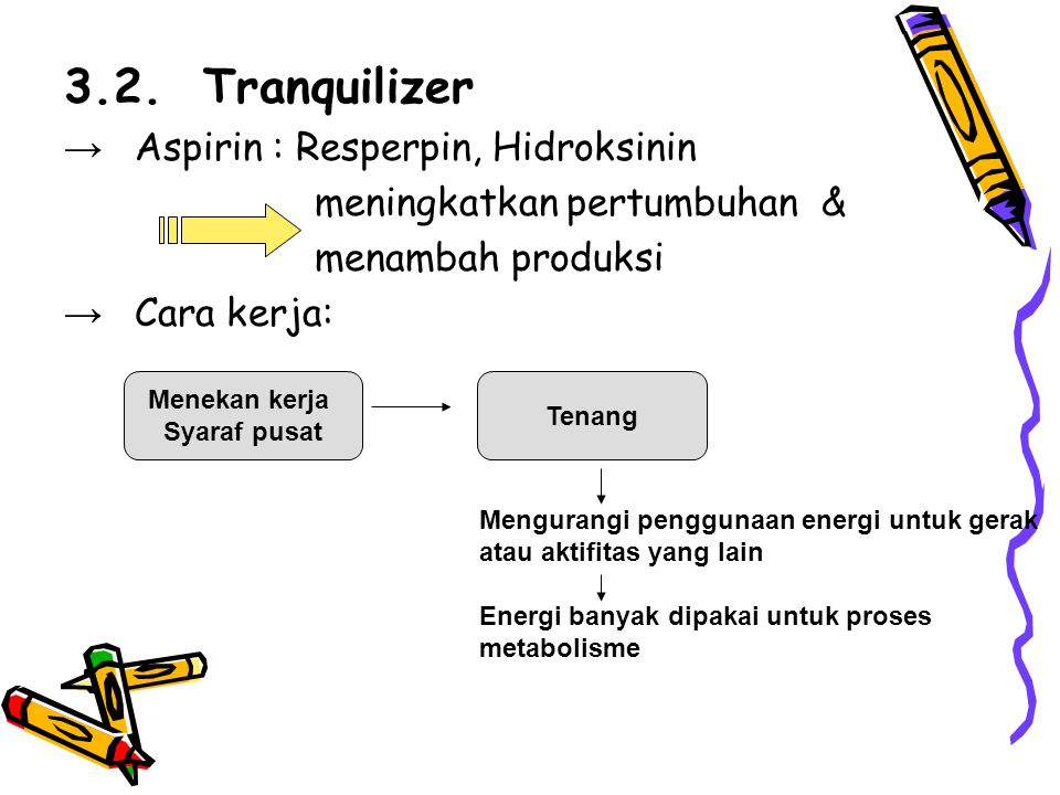 3.2. Tranquilizer → Aspirin : Resperpin, Hidroksinin meningkatkan pertumbuhan & menambah produksi → Cara kerja: Menekan kerja Syaraf pusat Tenang Meng