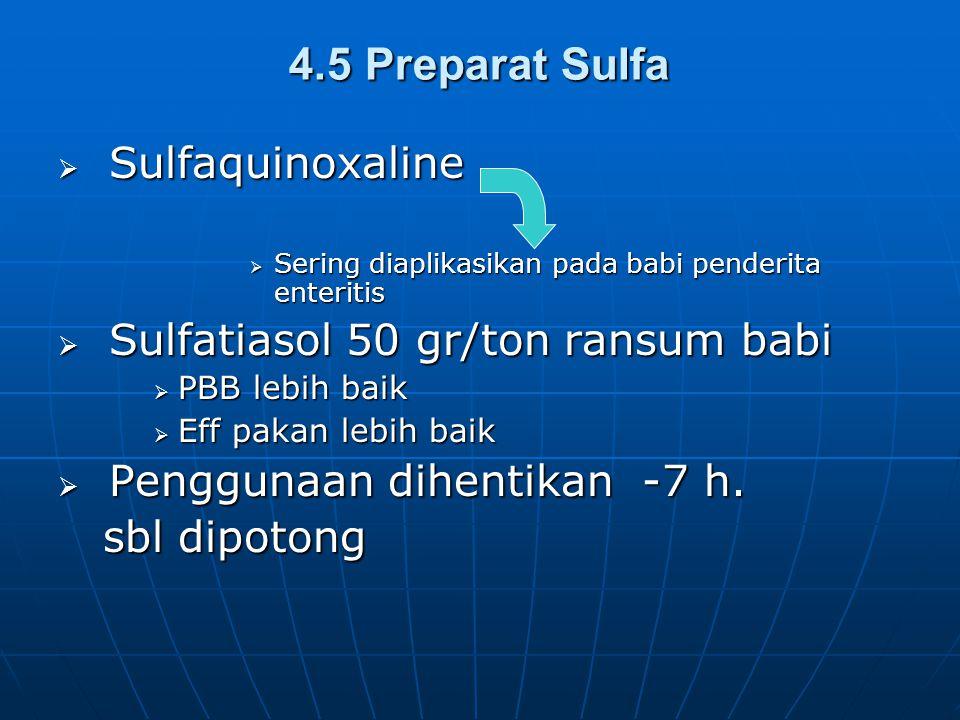 4.5 Preparat Sulfa  Sulfaquinoxaline  Sering diaplikasikan pada babi penderita enteritis  Sulfatiasol 50 gr/ton ransum babi  PBB lebih baik  Eff