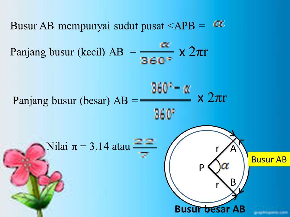 Busur AB mempunyai sudut pusat <APB = x 2πr Panjang busur (kecil) AB = Panjang busur (besar) AB = x 2πr Nilai π = 3,14 atau P r r A B Busur AB Busur b