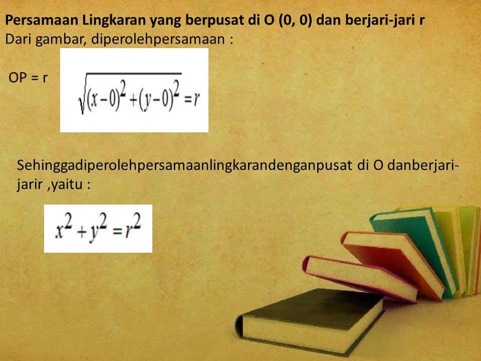 Persamaan Lingkaran yang berpusat di O (0, 0) dan berjari-jari r Dari gambar, diperolehpersamaan : OP = r Sehinggadiperolehpersamaanlingkarandenganpus