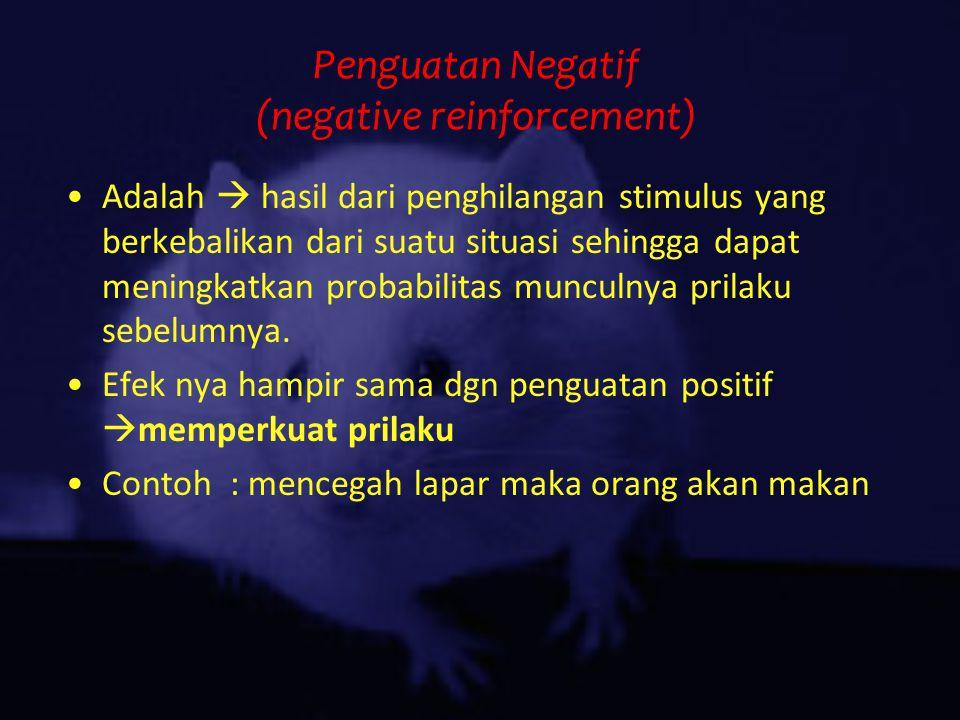 Penguatan Negatif (negative reinforcement) Adalah  hasil dari penghilangan stimulus yang berkebalikan dari suatu situasi sehingga dapat meningkatkan