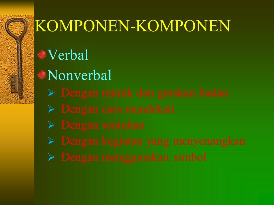 KOMPONEN-KOMPONEN Verbal Nonverbal  Dengan mimik dan gerakan badan  Dengan cara mendekati  Dengan sentuhan  Dengan kegiatan yang menyenangkan  Dengan menggunakan simbol