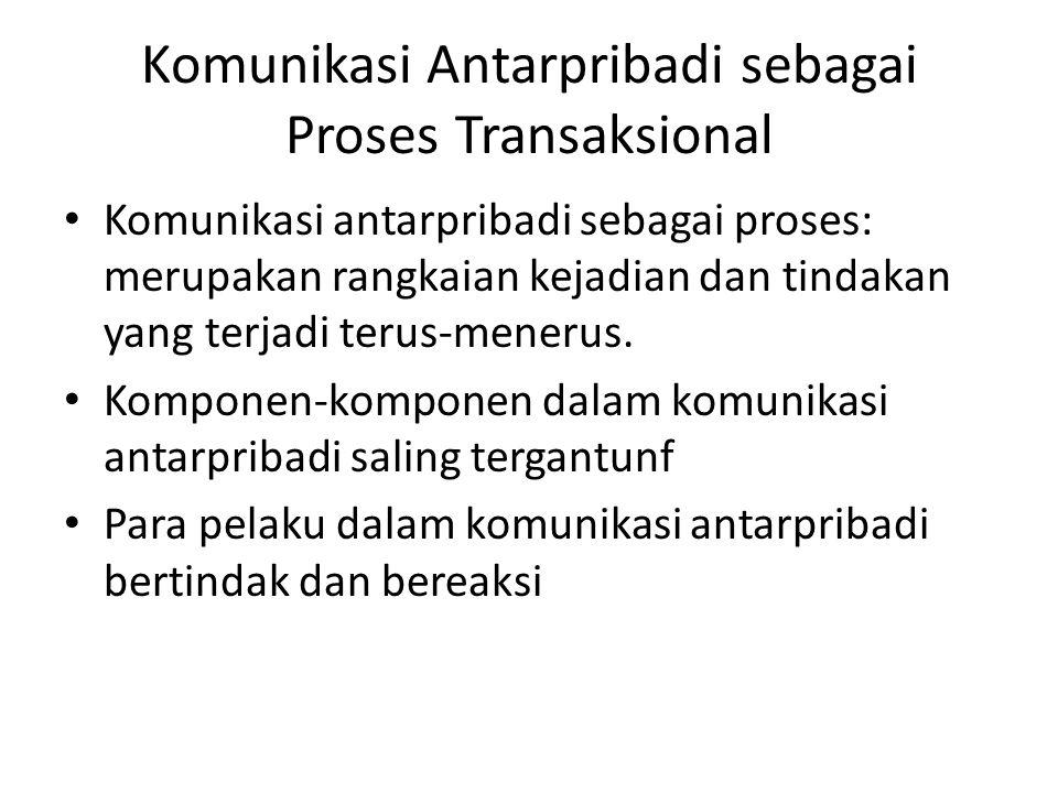 Komunikasi Antarpribadi sebagai Proses Transaksional Komunikasi antarpribadi sebagai proses: merupakan rangkaian kejadian dan tindakan yang terjadi te