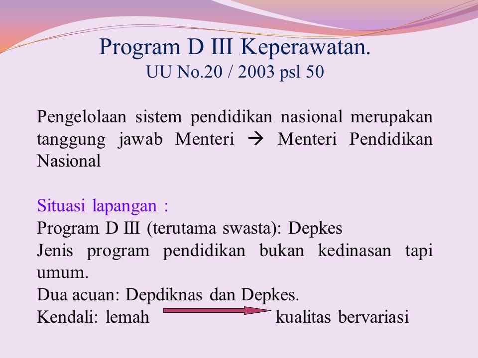 Program D III Keperawatan. UU No.20 / 2003 psl 50 Pengelolaan sistem pendidikan nasional merupakan tanggung jawab Menteri  Menteri Pendidikan Nasiona