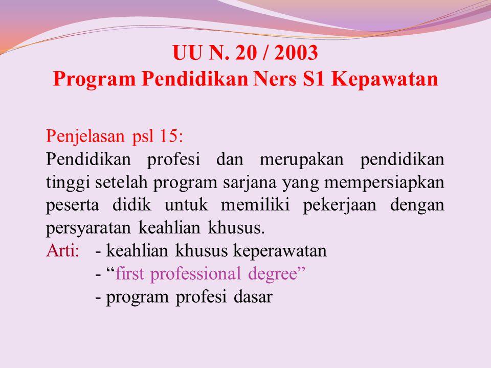UU N. 20 / 2003 Program Pendidikan Ners S1 Kepawatan Penjelasan psl 15: Pendidikan profesi dan merupakan pendidikan tinggi setelah program sarjana yan
