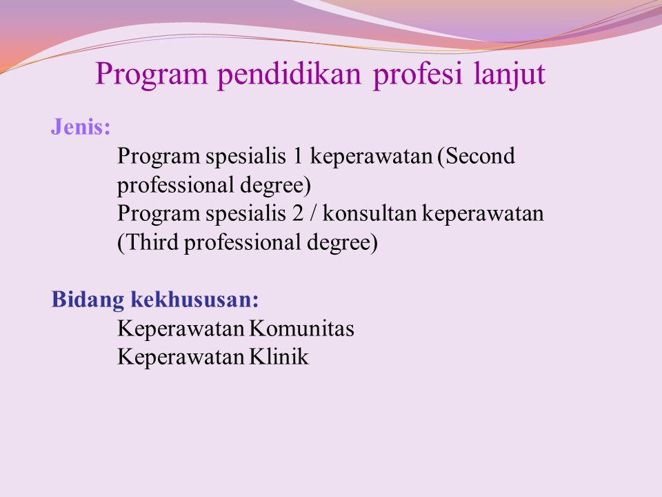 Program pendidikan profesi lanjut Jenis: Program spesialis 1 keperawatan (Second professional degree) Program spesialis 2 / konsultan keperawatan (Thi
