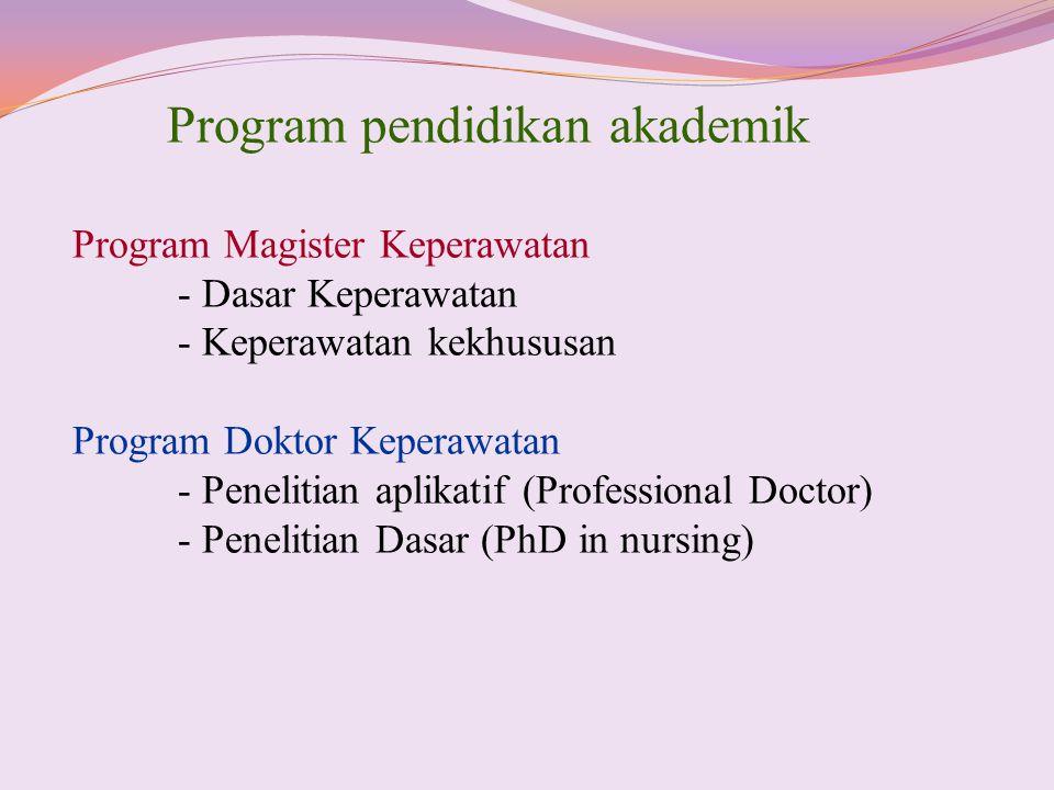 Program pendidikan akademik Program Magister Keperawatan - Dasar Keperawatan - Keperawatan kekhususan Program Doktor Keperawatan - Penelitian aplikati