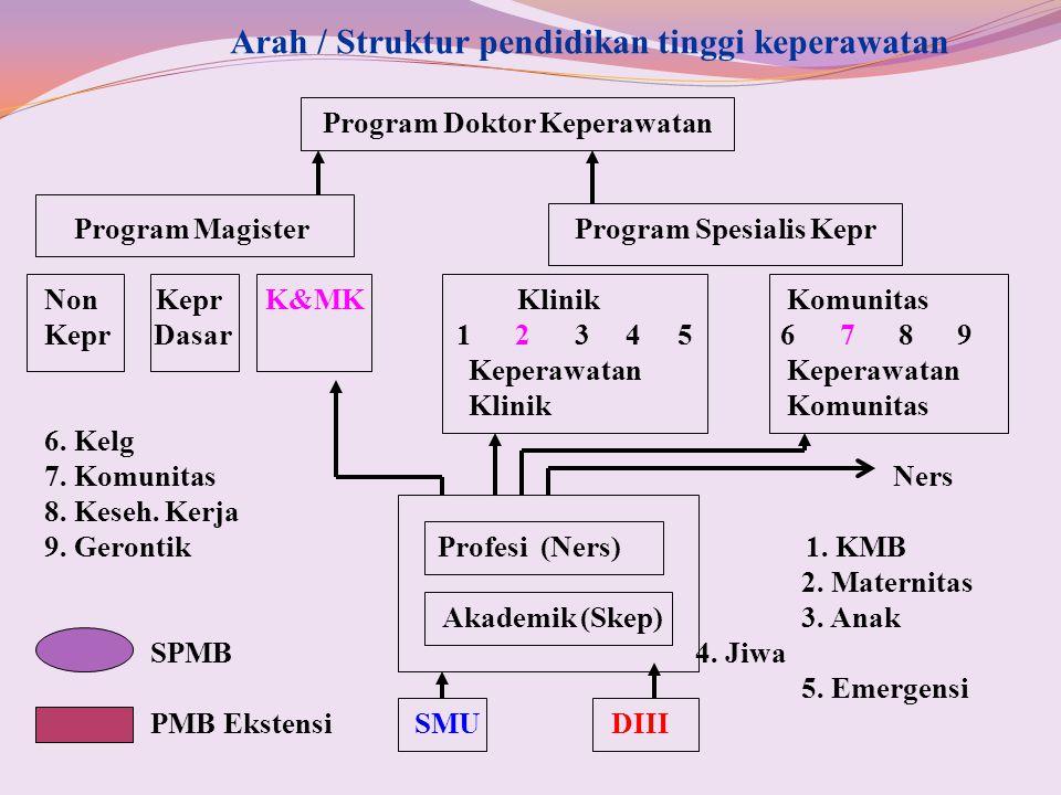 Arah / Struktur pendidikan tinggi keperawatan Program Doktor Keperawatan Program MagisterProgram Spesialis Kepr Non Kepr K&MK KlinikKomunitas Kepr Das