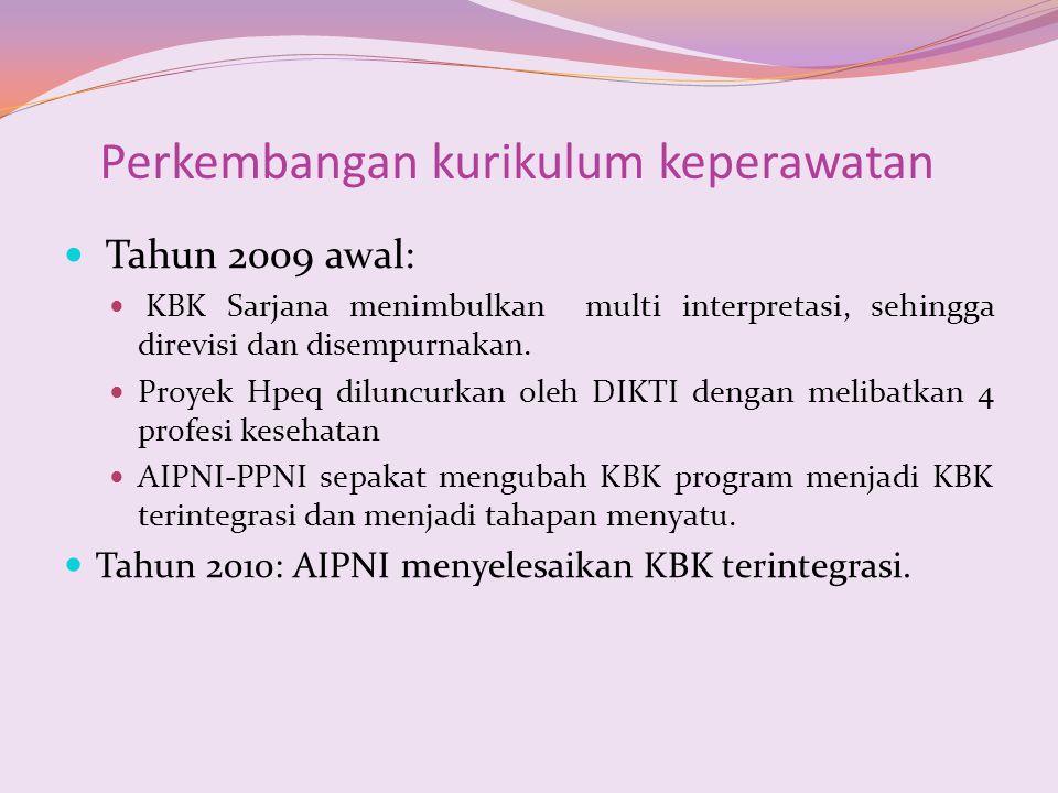Perkembangan kurikulum keperawatan Tahun 2009 awal: KBK Sarjana menimbulkan multi interpretasi, sehingga direvisi dan disempurnakan. Proyek Hpeq dilun
