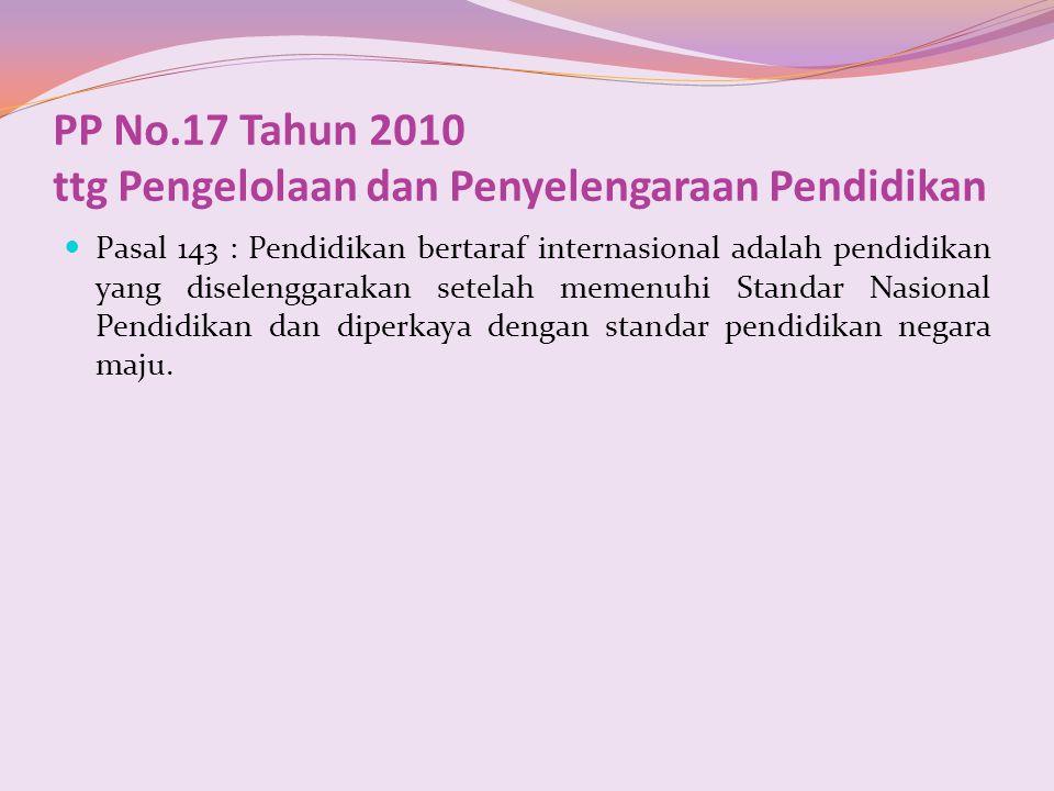 PP No.17 Tahun 2010 ttg Pengelolaan dan Penyelengaraan Pendidikan Pasal 143 : Pendidikan bertaraf internasional adalah pendidikan yang diselenggarakan
