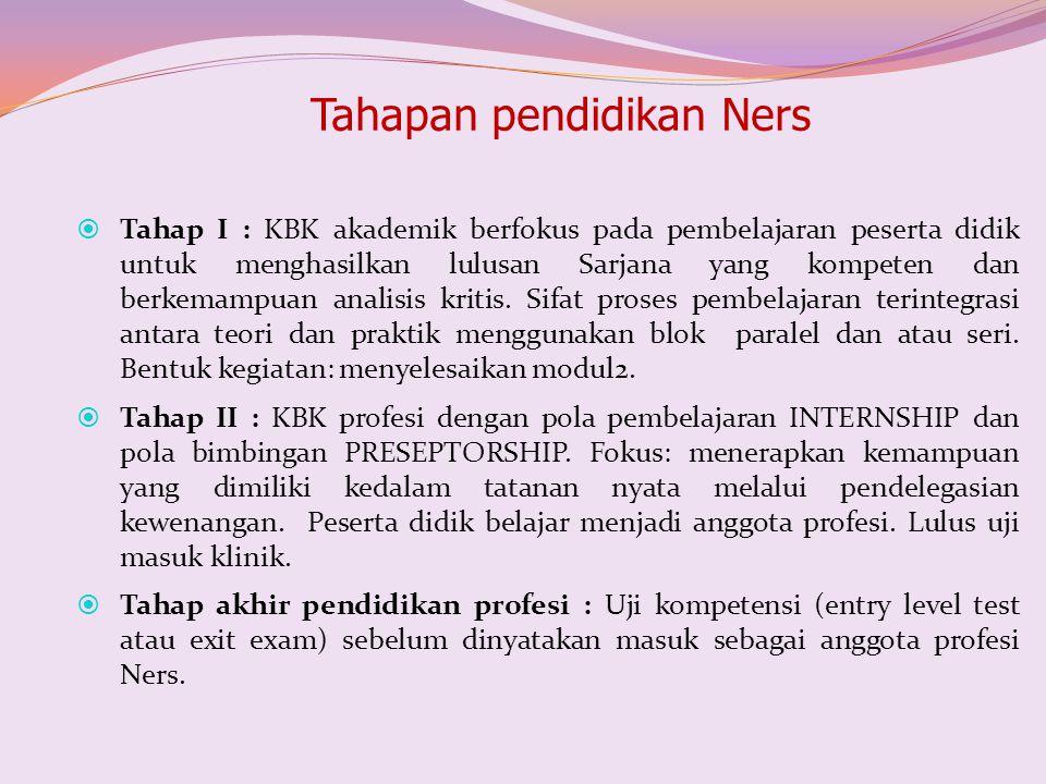 Tahapan pendidikan Ners  Tahap I : KBK akademik berfokus pada pembelajaran peserta didik untuk menghasilkan lulusan Sarjana yang kompeten dan berkema