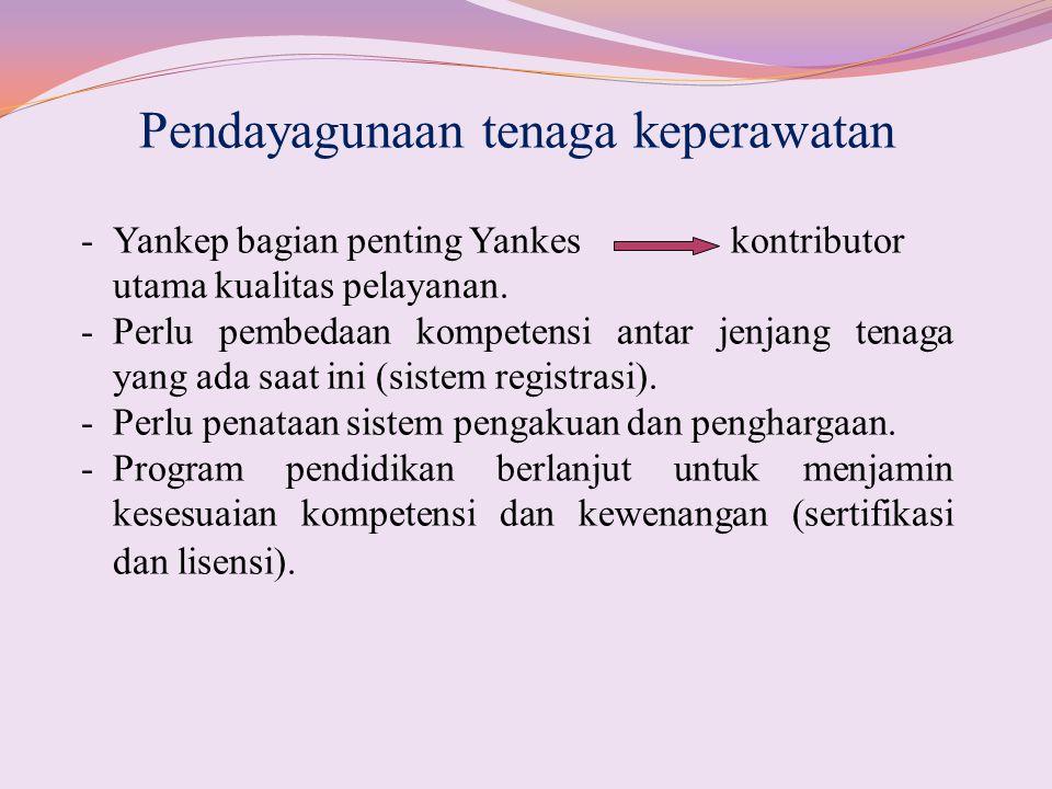 Pendayagunaan tenaga keperawatan -Yankep bagian penting Yankes kontributor utama kualitas pelayanan. -Perlu pembedaan kompetensi antar jenjang tenaga