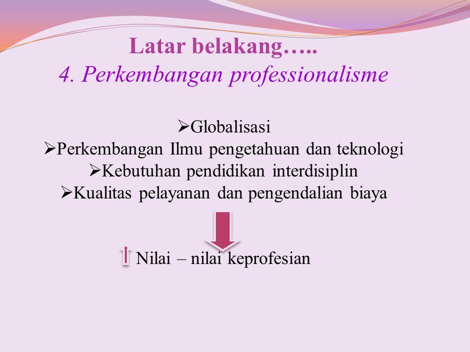 Latar belakang….. 4. Perkembangan professionalisme  Globalisasi  Perkembangan Ilmu pengetahuan dan teknologi  Kebutuhan pendidikan interdisiplin 