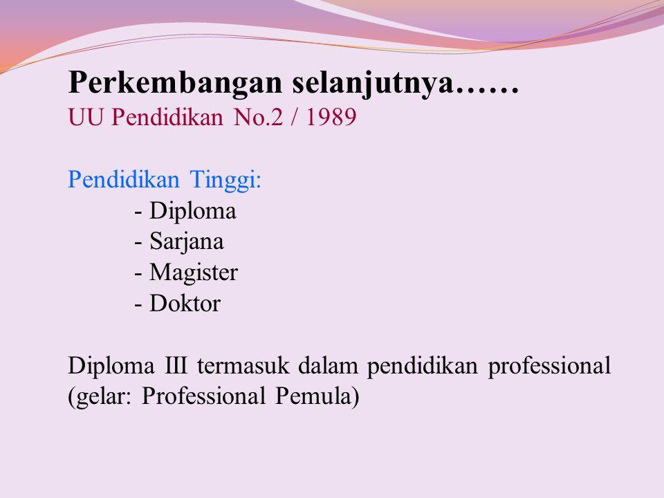 Perkembangan selanjutnya…… UU Pendidikan No.2 / 1989 Pendidikan Tinggi: - Diploma - Sarjana - Magister - Doktor Diploma III termasuk dalam pendidikan