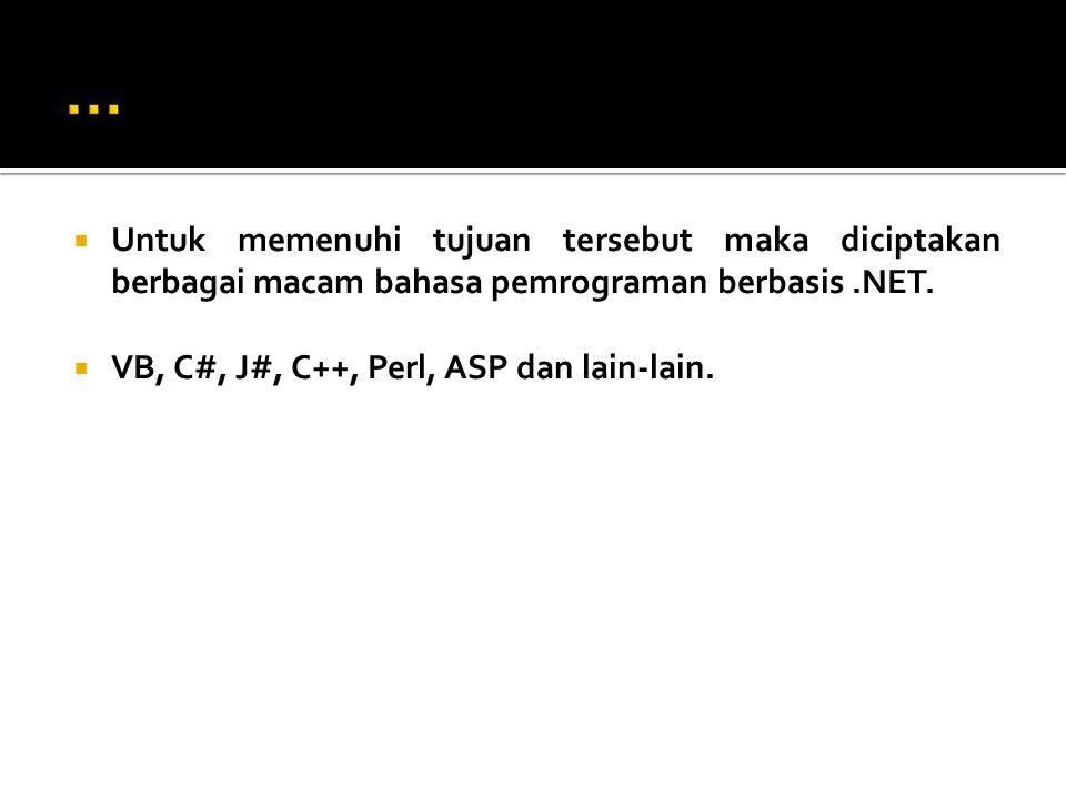  Untuk memenuhi tujuan tersebut maka diciptakan berbagai macam bahasa pemrograman berbasis.NET.