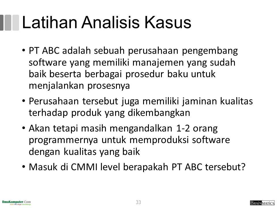 Latihan Analisis Kasus PT ABC adalah sebuah perusahaan pengembang software yang memiliki manajemen yang sudah baik beserta berbagai prosedur baku untu