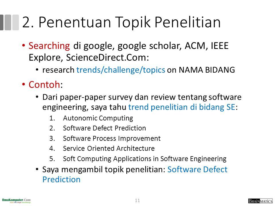 2. Penentuan Topik Penelitian Searching di google, google scholar, ACM, IEEE Explore, ScienceDirect.Com: research trends/challenge/topics on NAMA BIDA