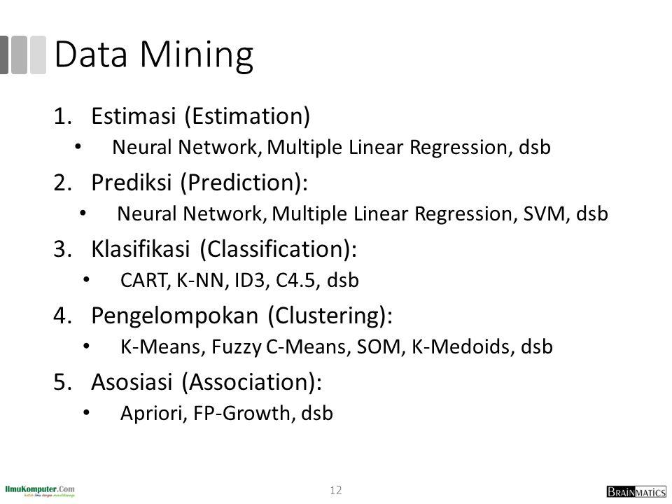 Data Mining 1.Estimasi (Estimation) Neural Network, Multiple Linear Regression, dsb 2.Prediksi (Prediction): Neural Network, Multiple Linear Regression, SVM, dsb 3.Klasifikasi (Classification): CART, K-NN, ID3, C4.5, dsb 4.Pengelompokan (Clustering): K-Means, Fuzzy C-Means, SOM, K-Medoids, dsb 5.Asosiasi (Association): Apriori, FP-Growth, dsb 12